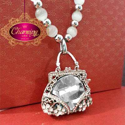 White Gold Plated Purse necklace