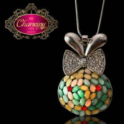 White Gold plated Rabbit and colorful granules necklace