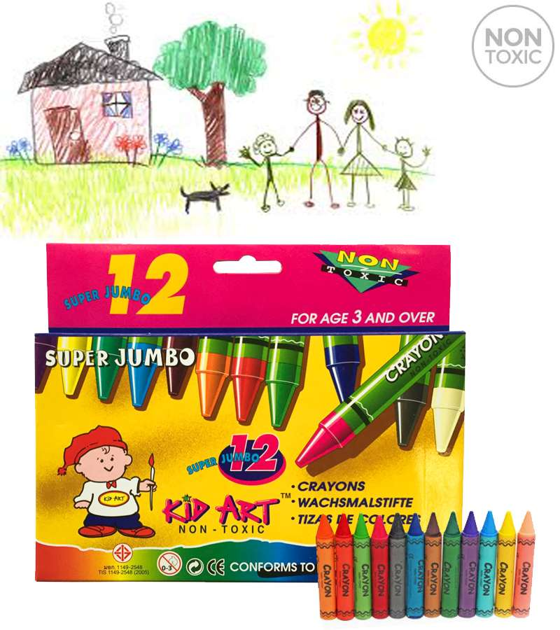 KID ART WAX Crayons Super Jumbo 12 Colors