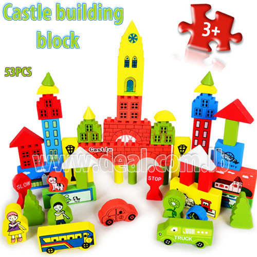 Puzzle colorful educational wooden toy building bl