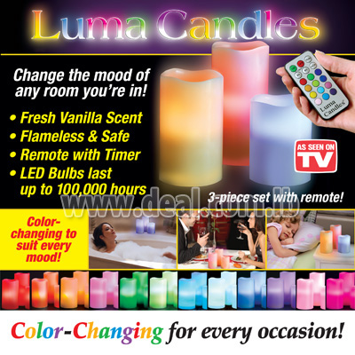 3 Pcs 12 LED Colors Changing Scented Flameless Lum