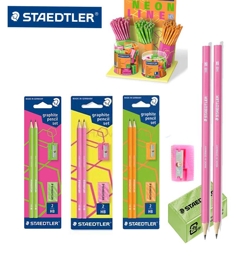 Staedtler Neon 4 PCS Set (2 Pencil +1 Sharpener + 1 Eraser )