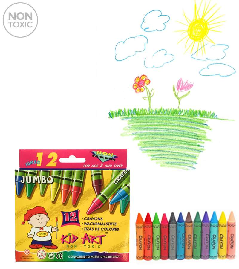 KID ART Wax Crayons JUMBO 12 Color