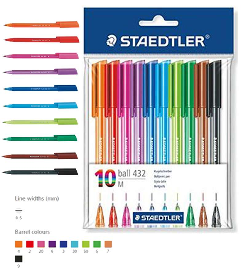 Staedtler Ball Point Pen 10 Rainbow Colours