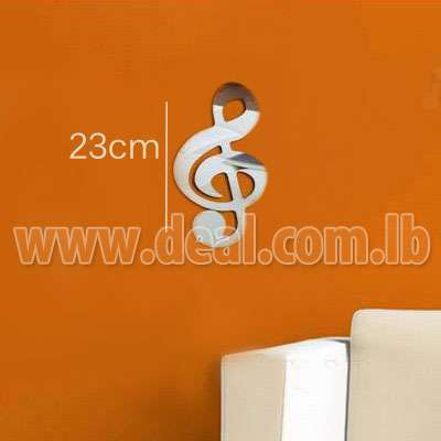 Mirror effect music note wall sticker,living room 3D