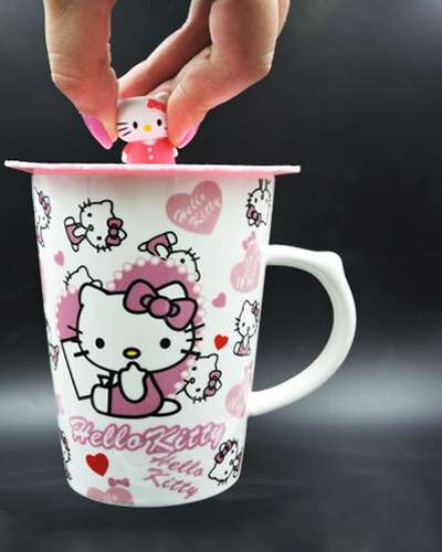 Ceramic Mug Coffee Cup Hello With Hearts Kitty with character on cover
