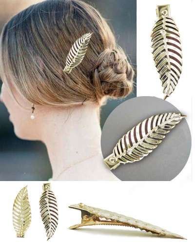 Gold Plated Leaf Hair Clip
