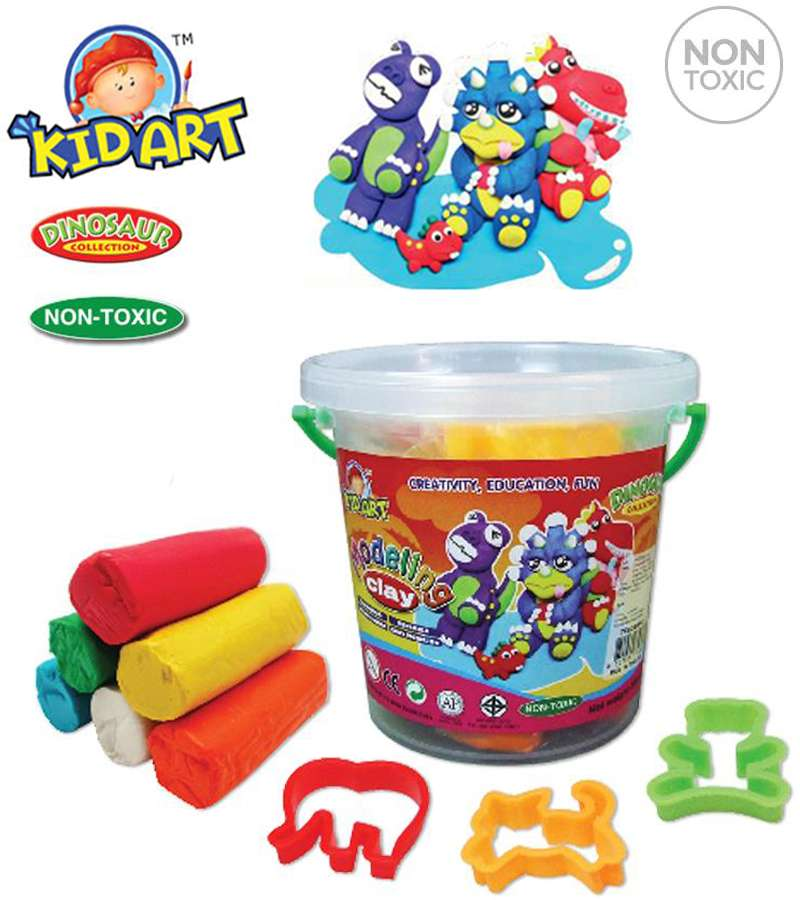 Non Toxic KIDART Modeling Clay  Bucket Dinosaur Collection (T300/3/B/M-DI)
