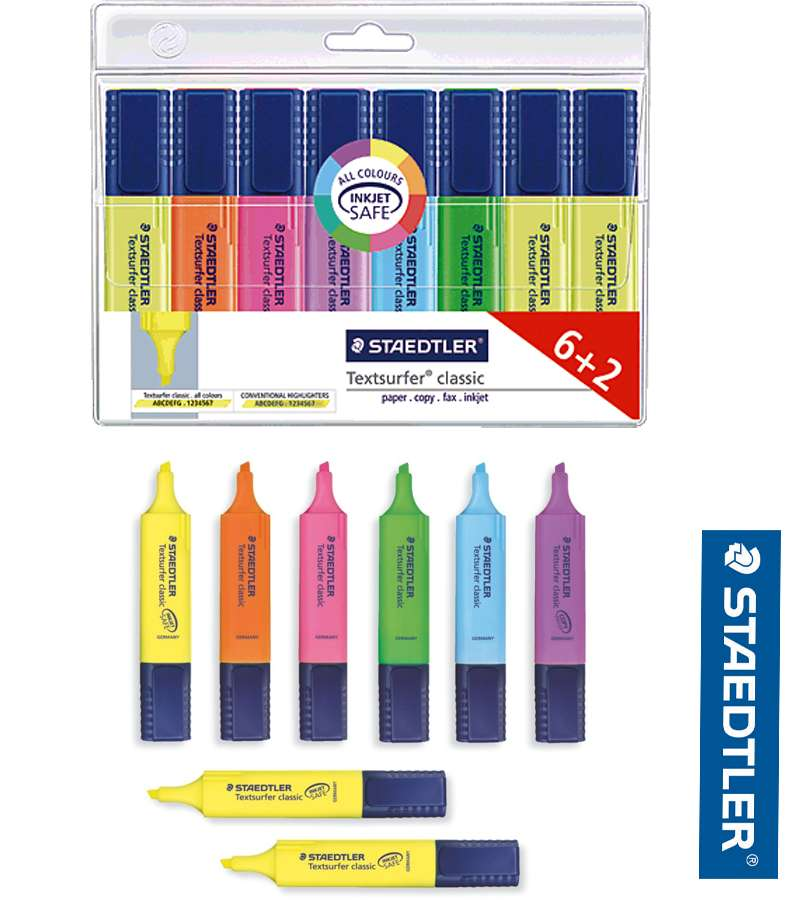 6pcs Staedtler Smudge-Proof highlighters
