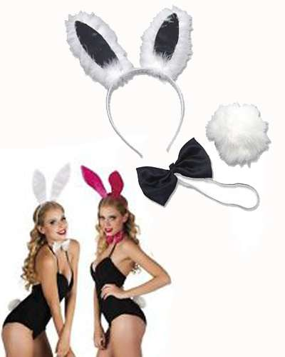BLACK or PINK PLAYBOY BUNNY RABBIT EARS TIE TAIL