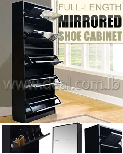 Black Mirrored Shoe Cabinet