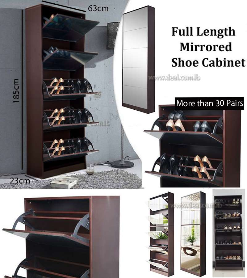 Brown Full Length Wooden Shoe Storage Cabinet With 5 Drawers Full Mirror Living Room Furniture