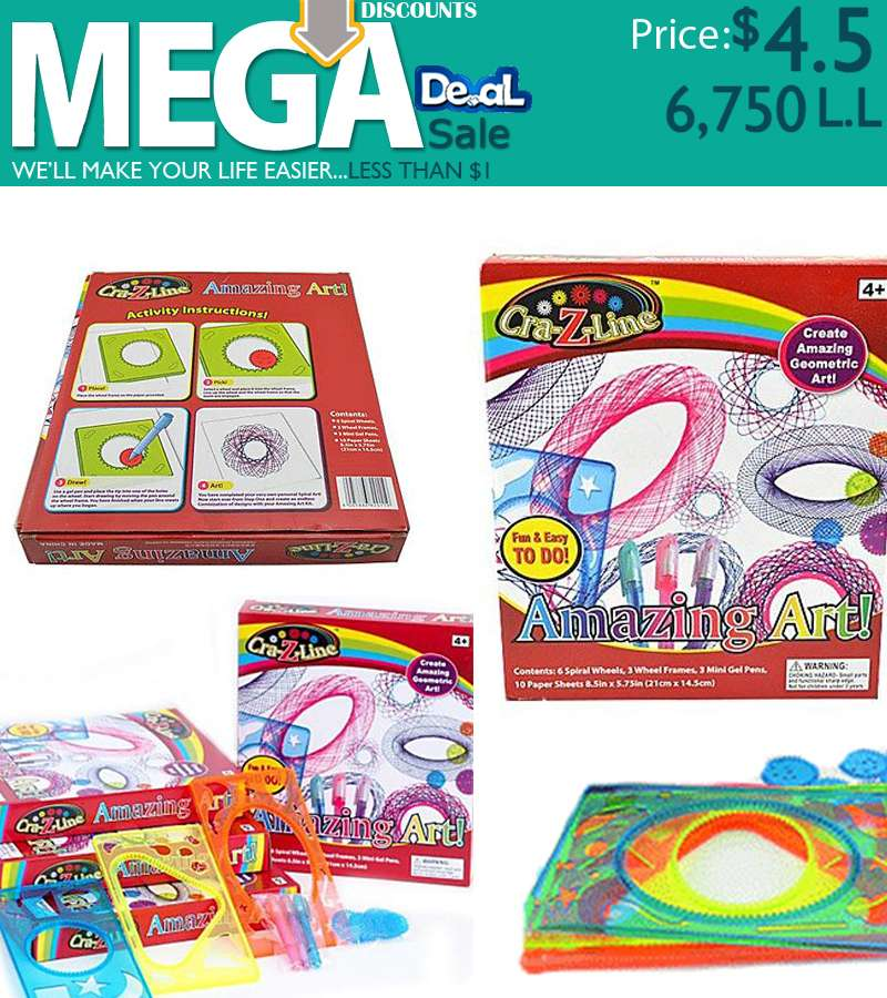 CRA-Z-LINE-ART SPIRAL AMAZING ART KIT DRAWING RULE SPIROGRAPH