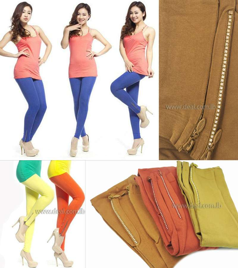 Candy Colors Side Zipper Solid Color Elastic Pant Ankle Length Leggings