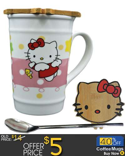 Ceramic Mug Hello Kitty cup With Wooden Cover