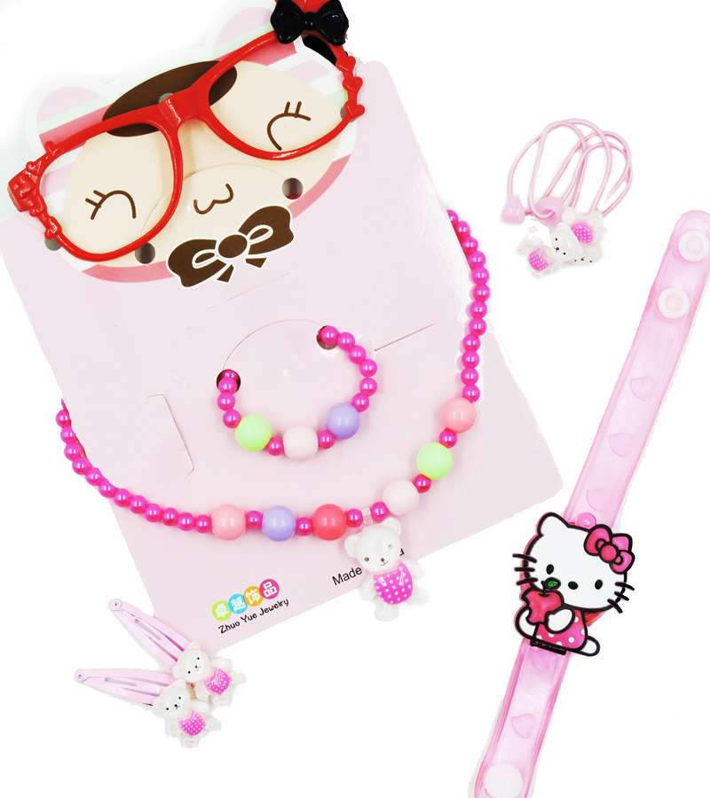 Children Beads Jewelry Set Baby Child Kids Simulated Pearl Glasses  Hair Clips Necklace Bracelet Set