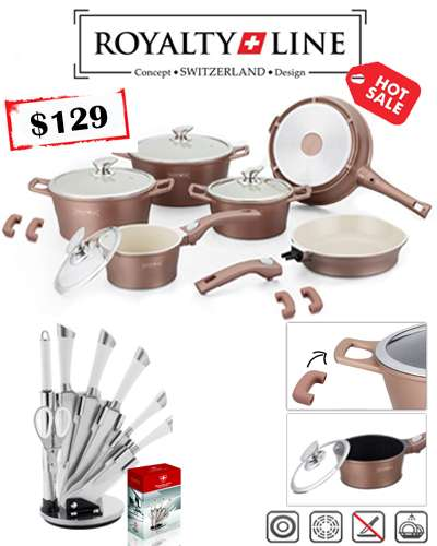Cooper Color 14 Pcs Ceramic coating cookware and 8