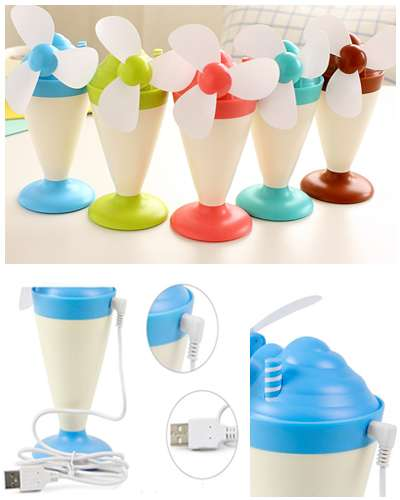 Creative Lamp Night Light Mini Ice Cream Fan