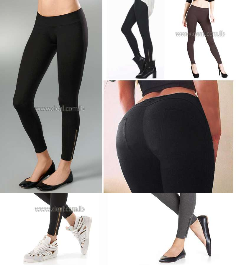 Dark Color ANKLE-ZIP LEGGINGS