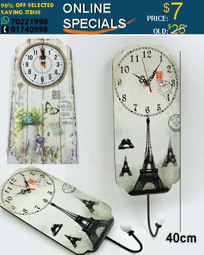 Decorative wall clock wooden with hanger 40cm