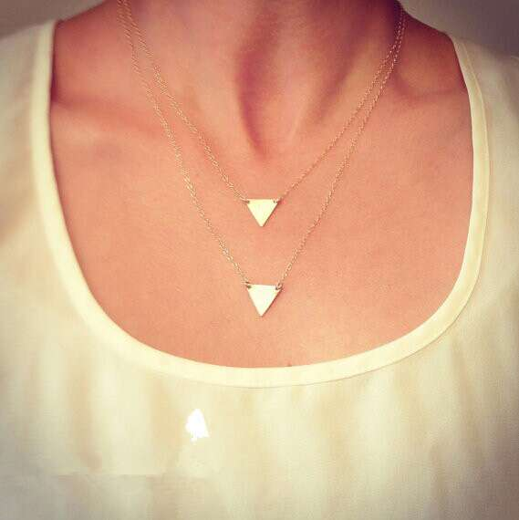 Double Layers Golden Sequins Triangle Pendant Necklace