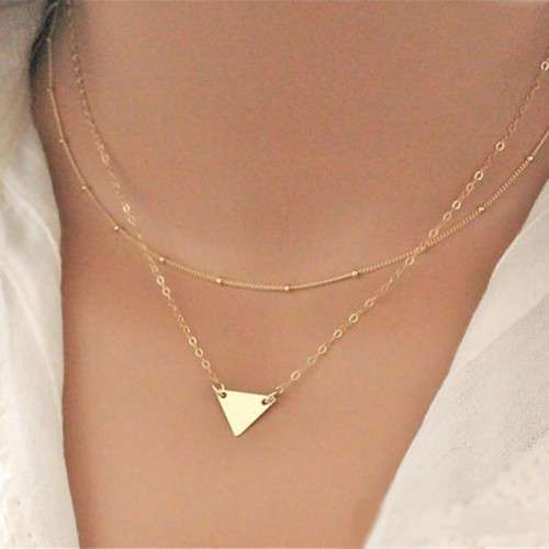 Double layer Sequins Triangle Pendant