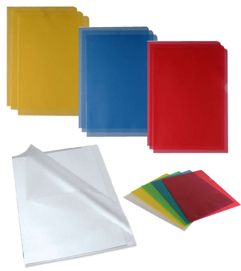 100 Peice Cut Back A4 Coloured Plastic Cut Flush Folders Wallets Pockets Top & Side Opening