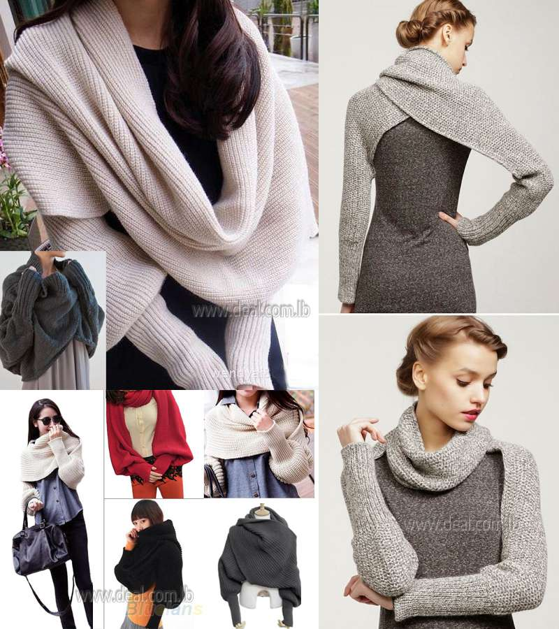 Fashion Style Women Solid Scarf With Sleeve Crochet Knit Long Soft Wrap Shawl Scarves