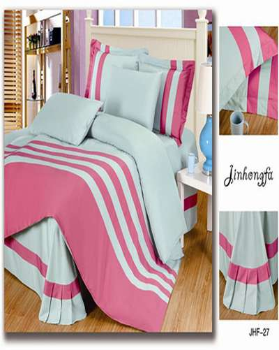 Fuchsia and Blue color bedding sets queen king 4pcs Stripe cover bed s...
