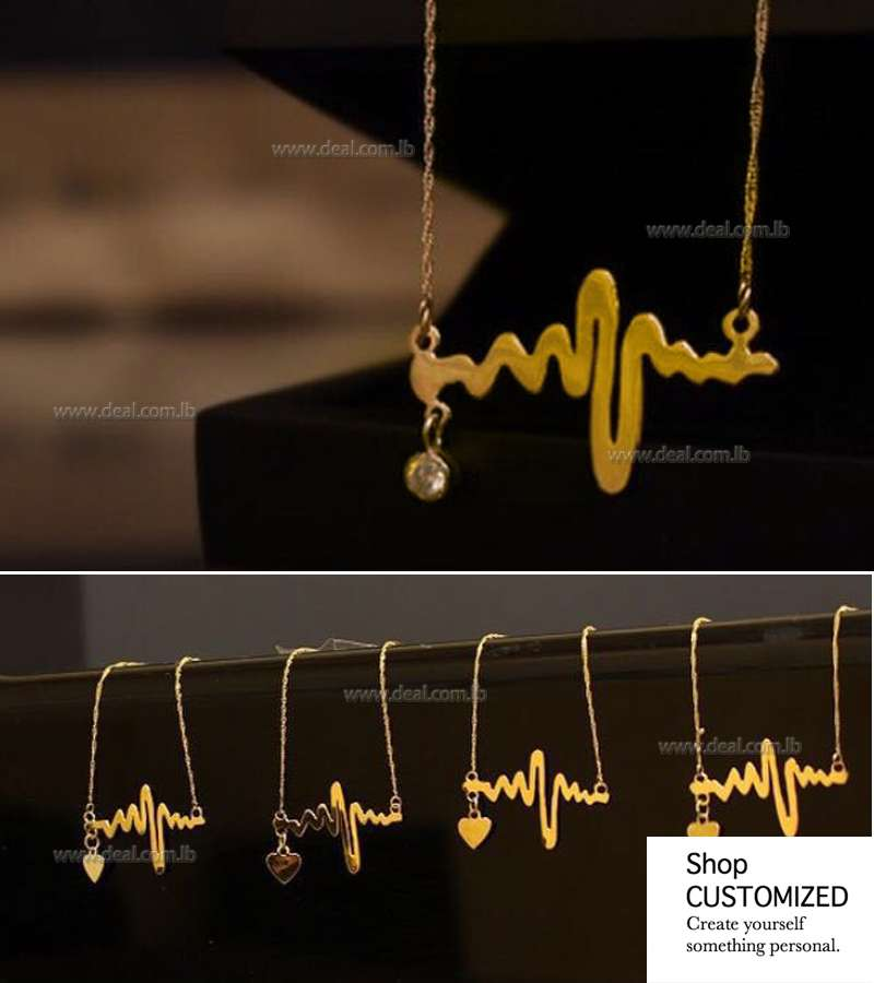 Gold or silver plated  Heartbeat Style Necklace for Women