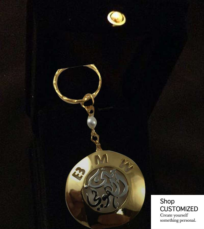 Gold plated customized arabic names key chain