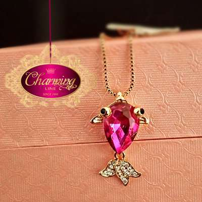 Gold plated fish stone Crystal purple necklace