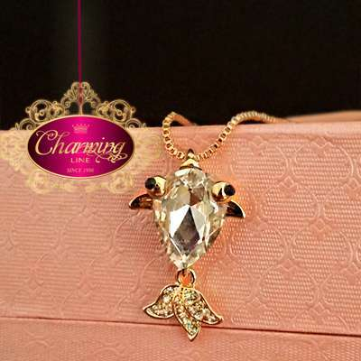 Gold plated fish stone Crystal silver necklace