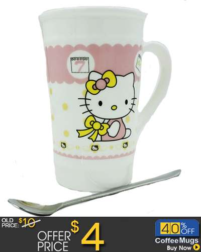 Hello Kitty Ceramic Mug Coffee Cup with Spoon