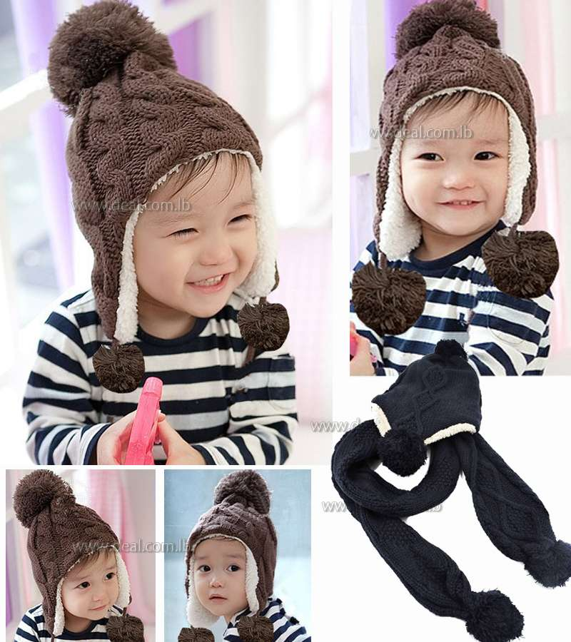 Childrens Cup Twist Plus Velvet Ear Baby Hat Cap Wool Knitted Hat Childrens Hood with scarf