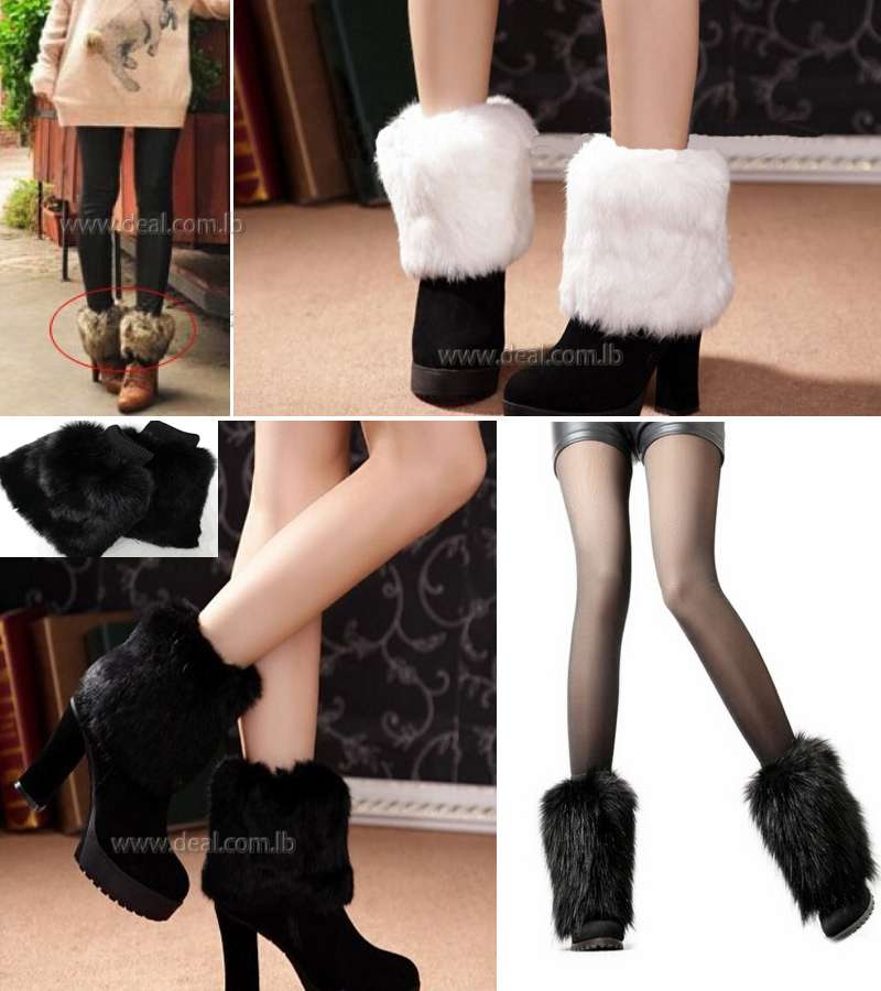 Rabbit Fur Boot Real Leather Boot Cover / Leggings for Girl