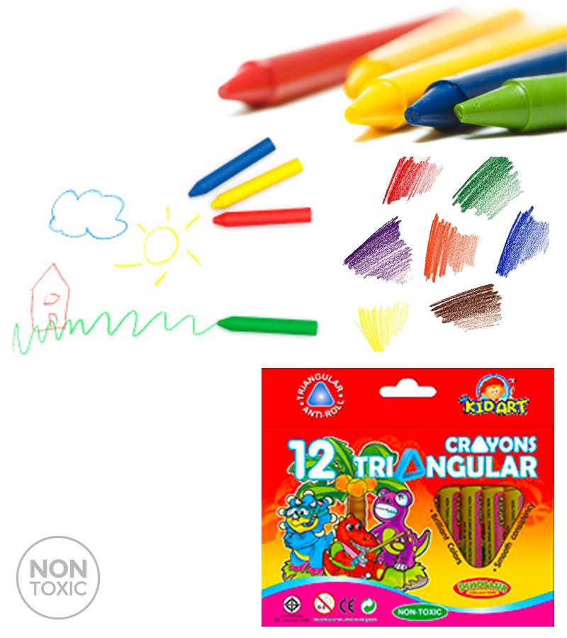 KIDART 12 Wax Crayons Triangular Jumbo 12 Color