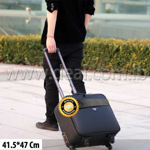 Luxury Travel luggage trolley bag leather rolling