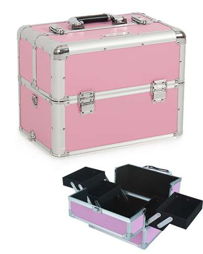 Aluminium Pink Make Up Cosmetic Box