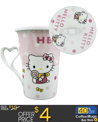 Hello Kitty Ceramic Mug Coffee Cup with Cover