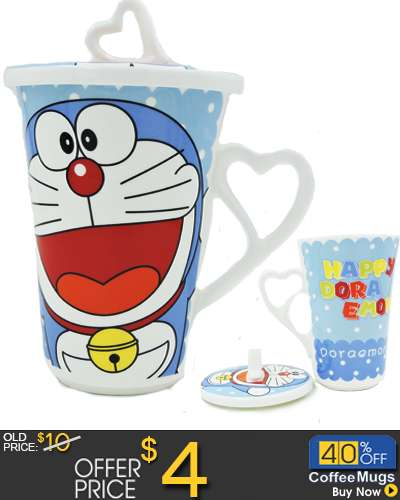 Doraemon Ceramic Mug Coffee Cup with Cover