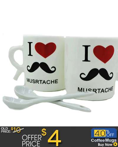 2 PCS Mug Beard.Mr moustache