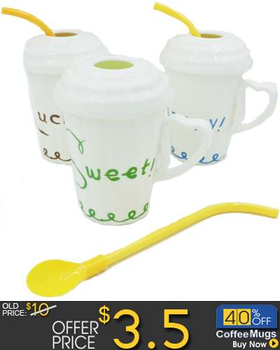 Cup Simple Mug With Cover & Straw