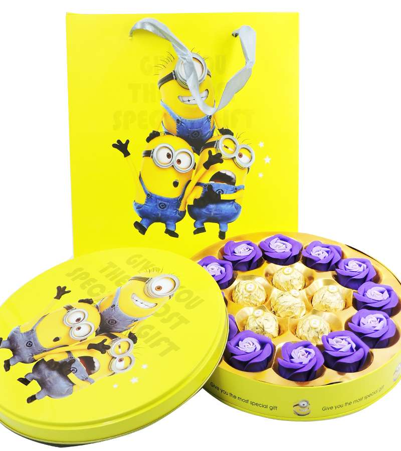 Minions Round Chocolate Gift Box with bag