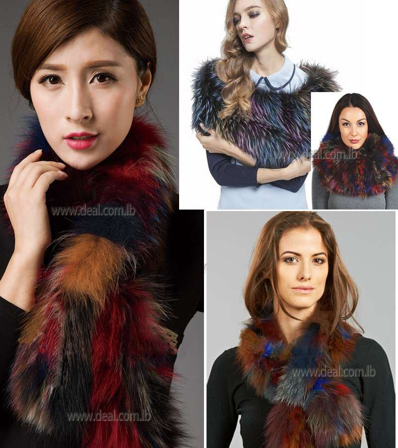 Multicolored Knit Fox Fur Shelby Scarf