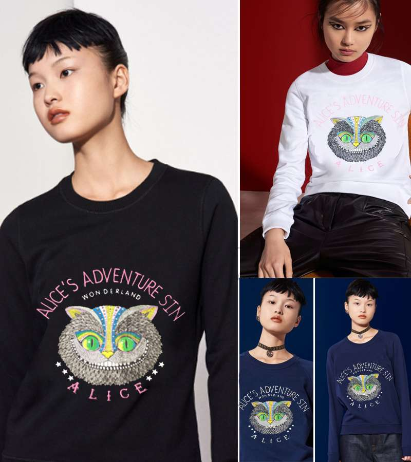 New Women Loose Owl Pattern T shirt with ALICES ADVENTURES IN WONDERLAND Letters
