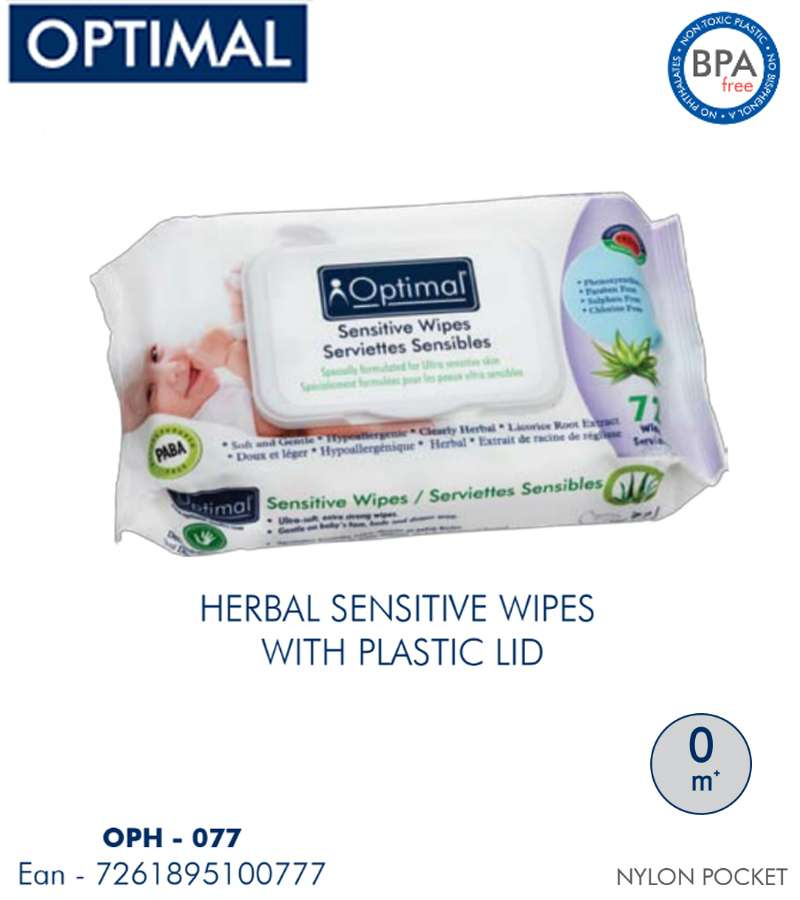 Optimal HERBAL Sensitive Wipes with Plastic LID 72 PCS