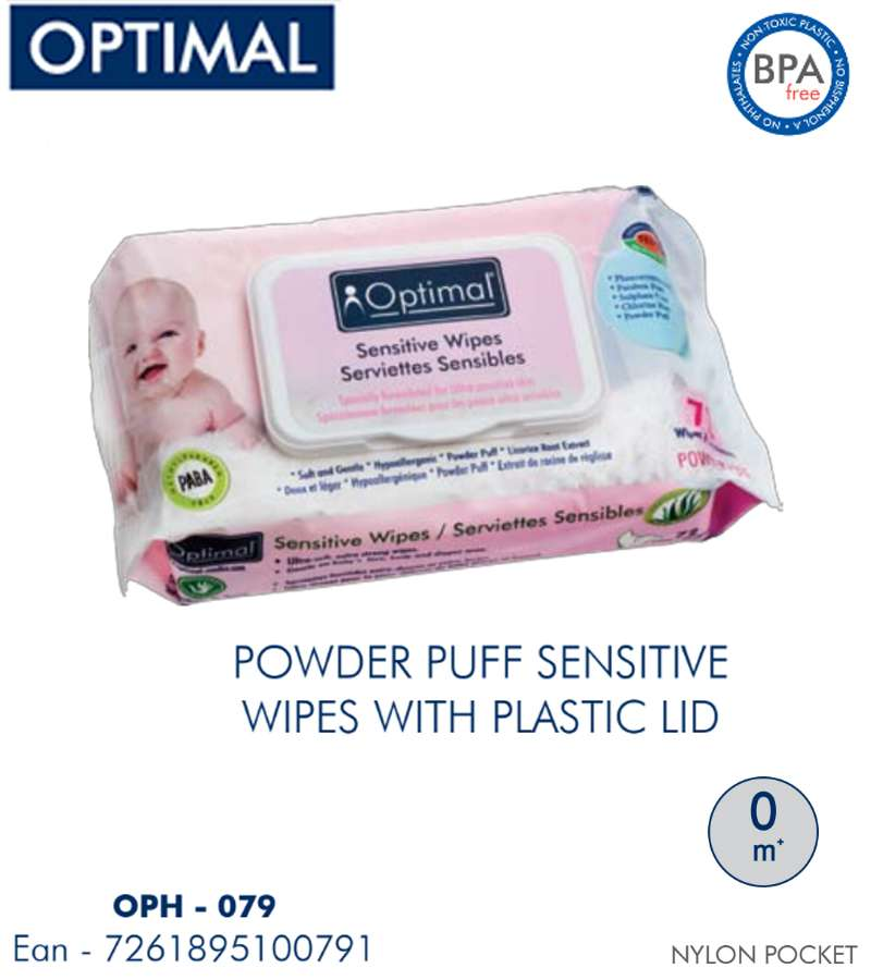 Optimal Sensitive Powder puff wipes with LID Cover 72 PCS