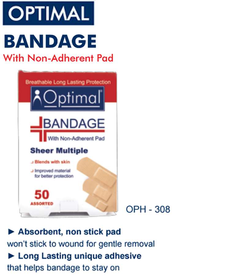 Optimal Sheer Multiple Bandage with Non-Adherent Pad (50 PCS )
