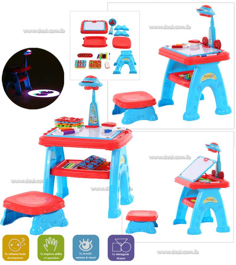 Childrens Drawing Toys Projector Lamp Projector Learning Machine Toy Study Table Set